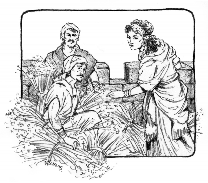 Illustration of Rahab hiding the spies.