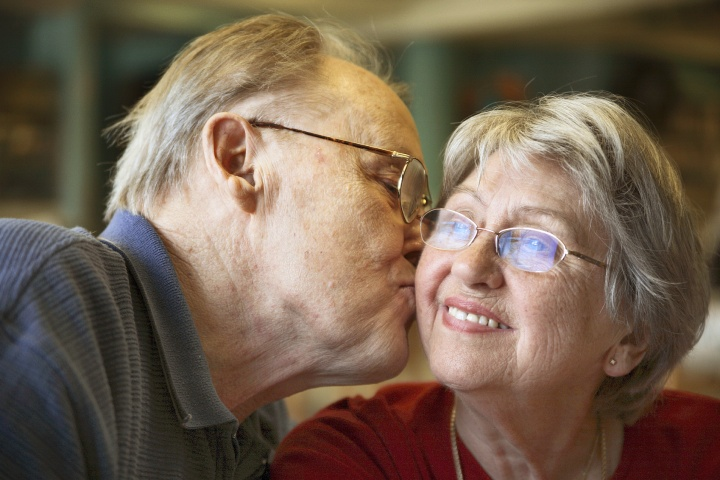An elderly couple.