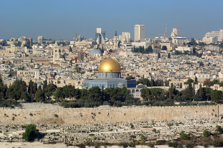 Jerusalem, Dome of the rock, in the background the Church of the Holy Sepulchre.