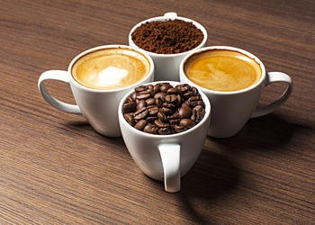 mugs of coffee and beans
