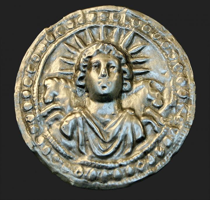 Ancient Roman silver disk depicts Sol Invictus
