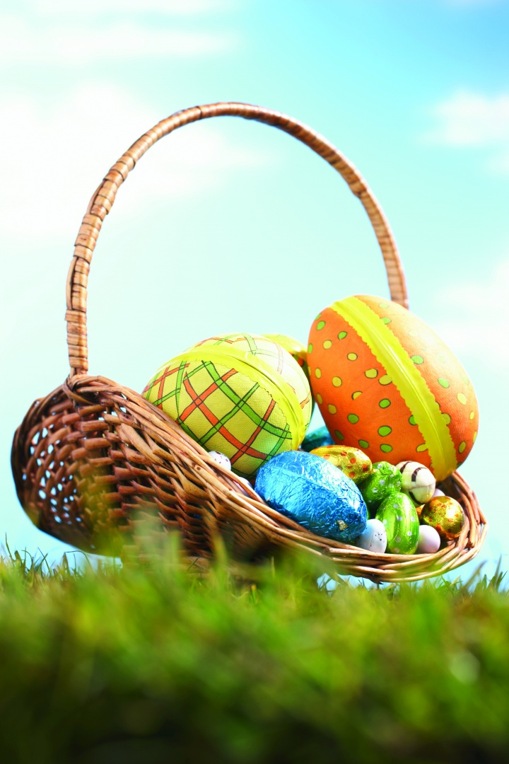 Basket of decorated Easter eggs.