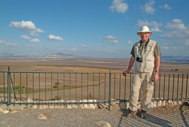 Darris McNeely stands atop the hill of Megiddo.