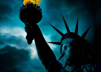 Statue of Liberty with dark sky