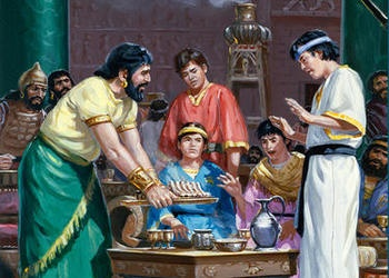 An painting of Daniel and his three friends rejecting the Babylonian food.