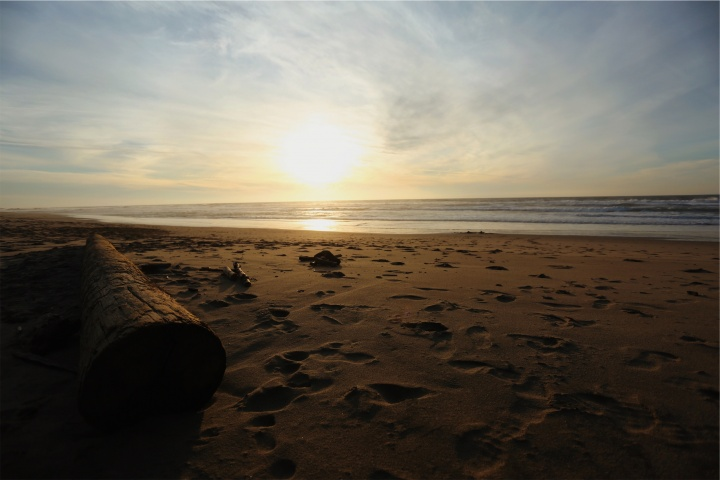 Sunset over a beach.