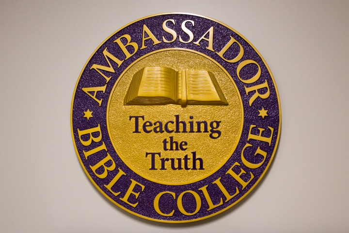 The Ambassador Bible College seal at the entry way.