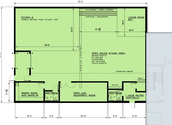 This is a graphic of the studio building floor plan.
