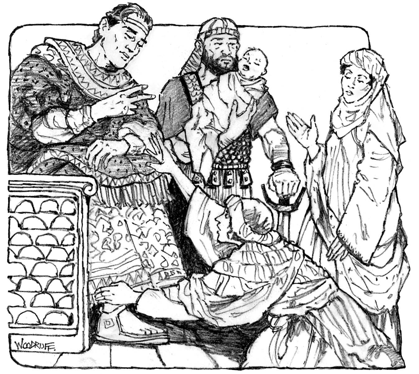 Illustration of Solomon with the two women and baby.