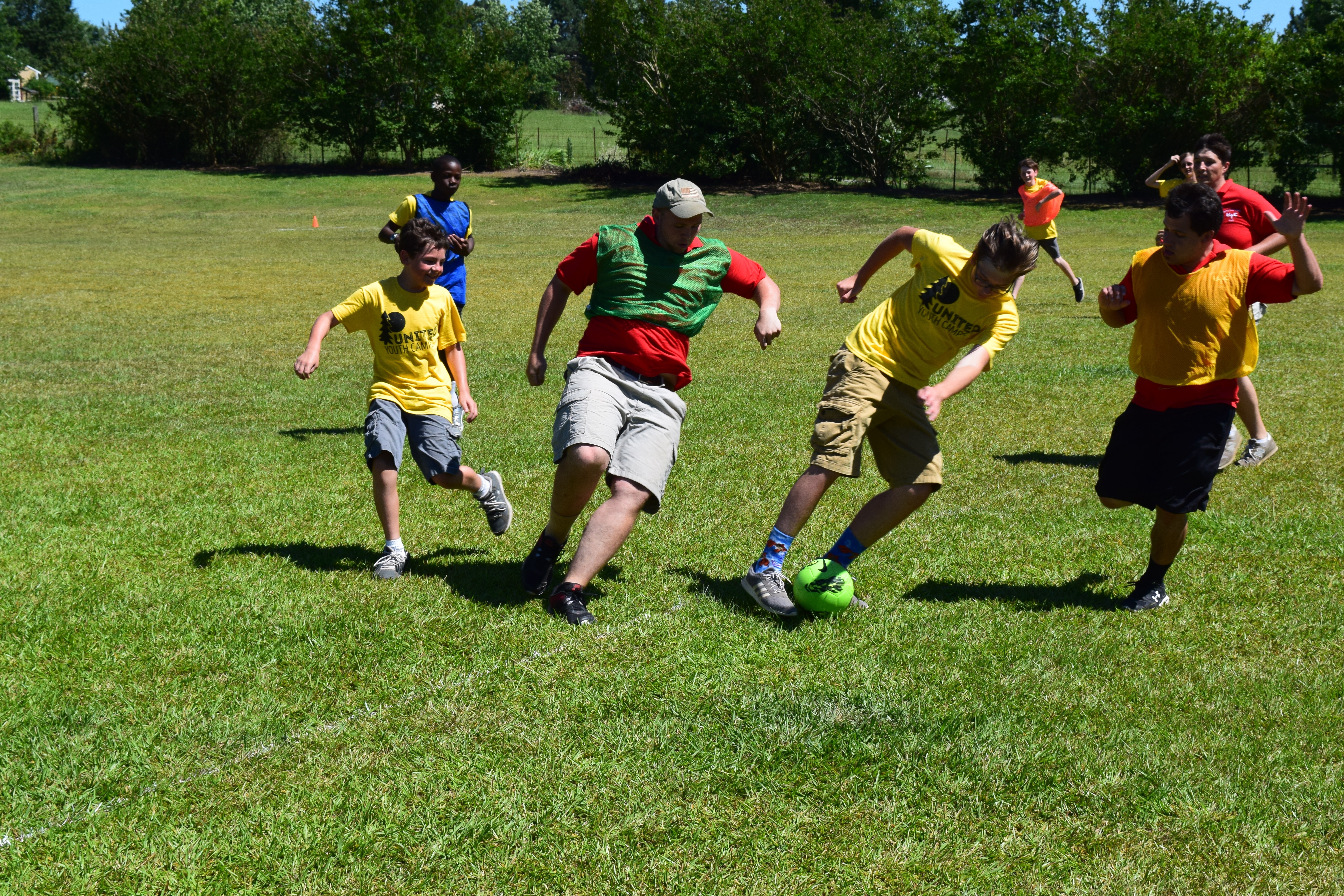 Campers at Camp Woodmen play a game of speedaway.