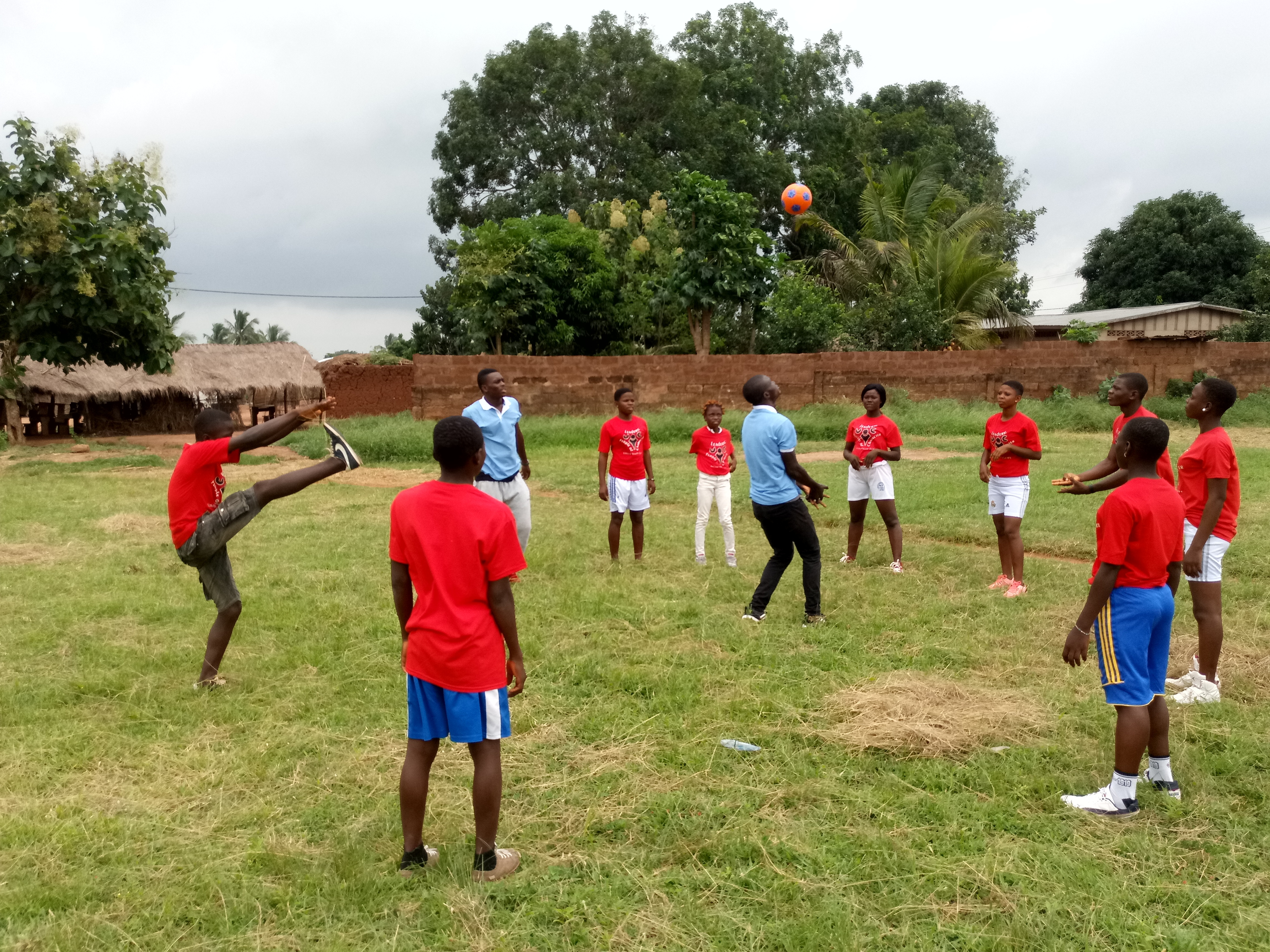 Campers and staff play sports at the youth camp in Togo.