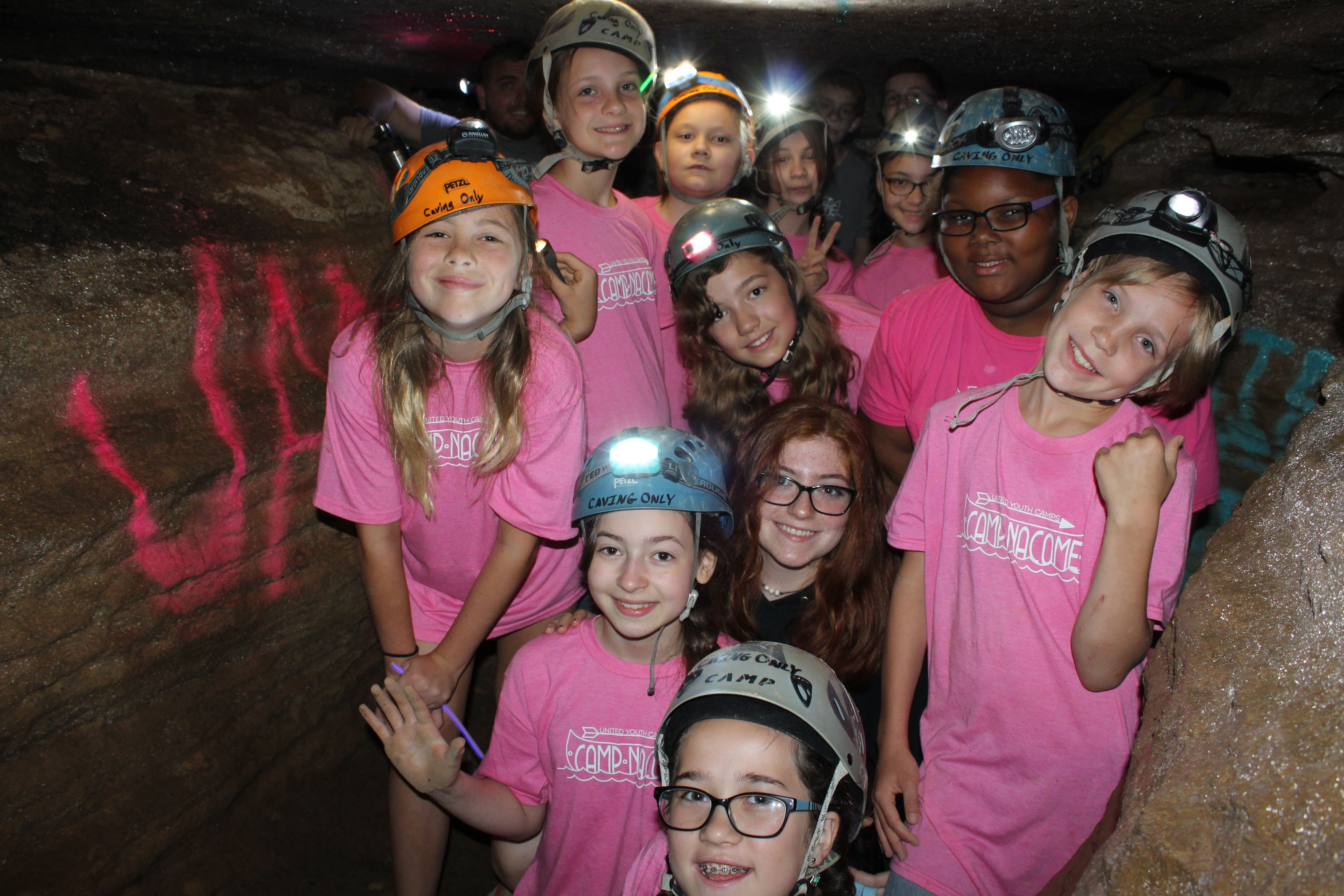 Camp Nacome campers enjoying a local cave.