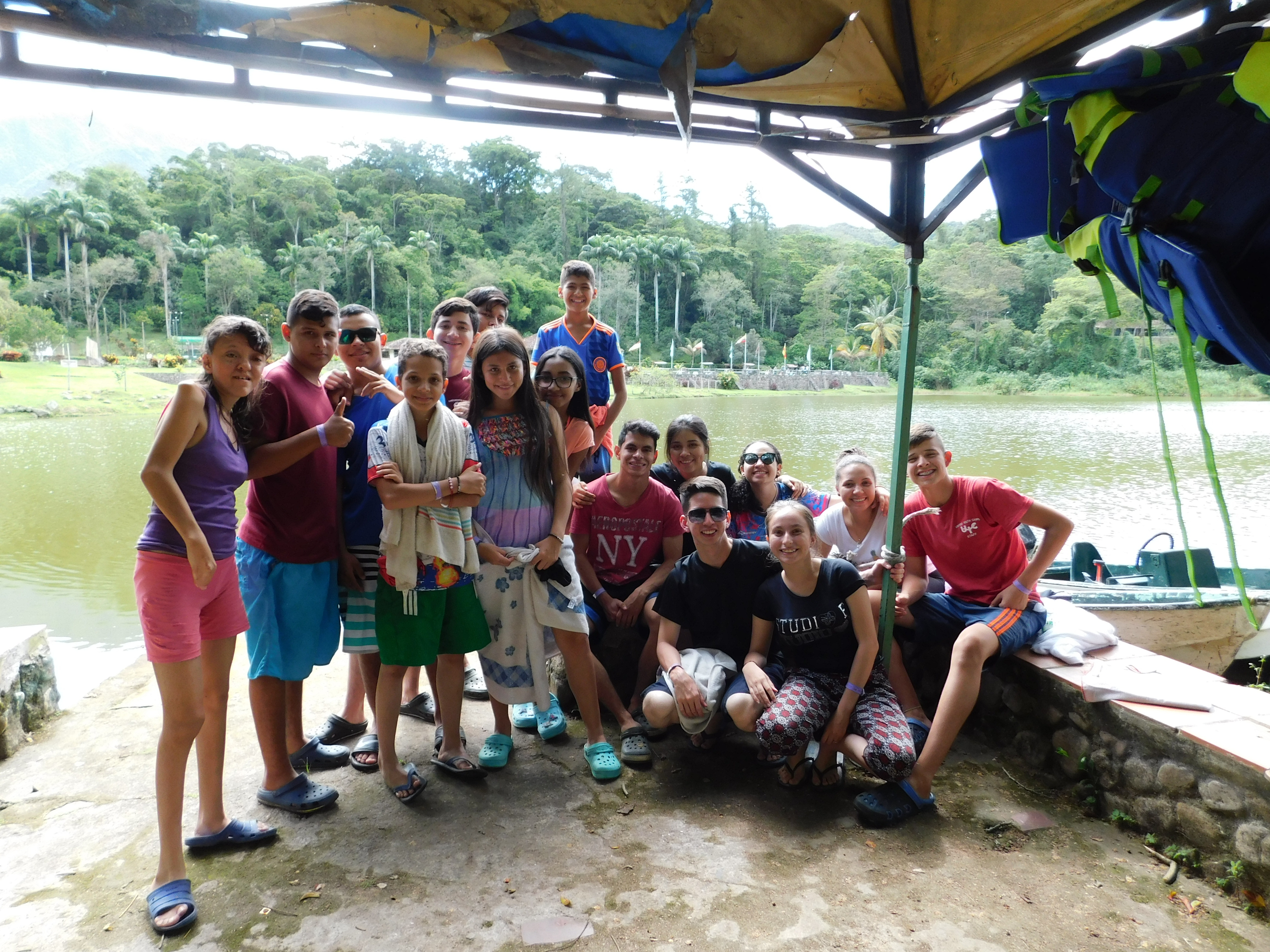 Campers and staff during boating activity at Columbia camp.