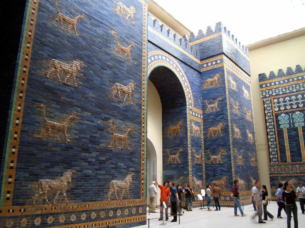 Photo of the reconstruction of the Babylonian Ishtar Gate in the Pergamon Museum, Berlin.