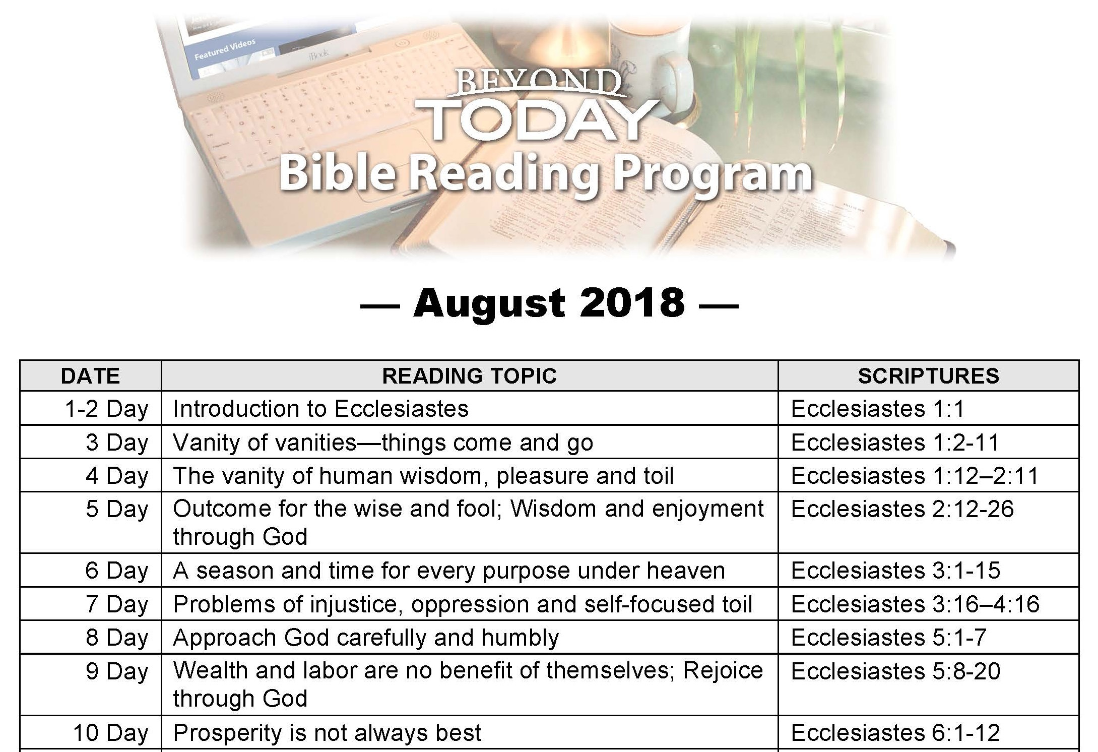 this is a graphic of the bible reading program first page for Ecclesiastes.