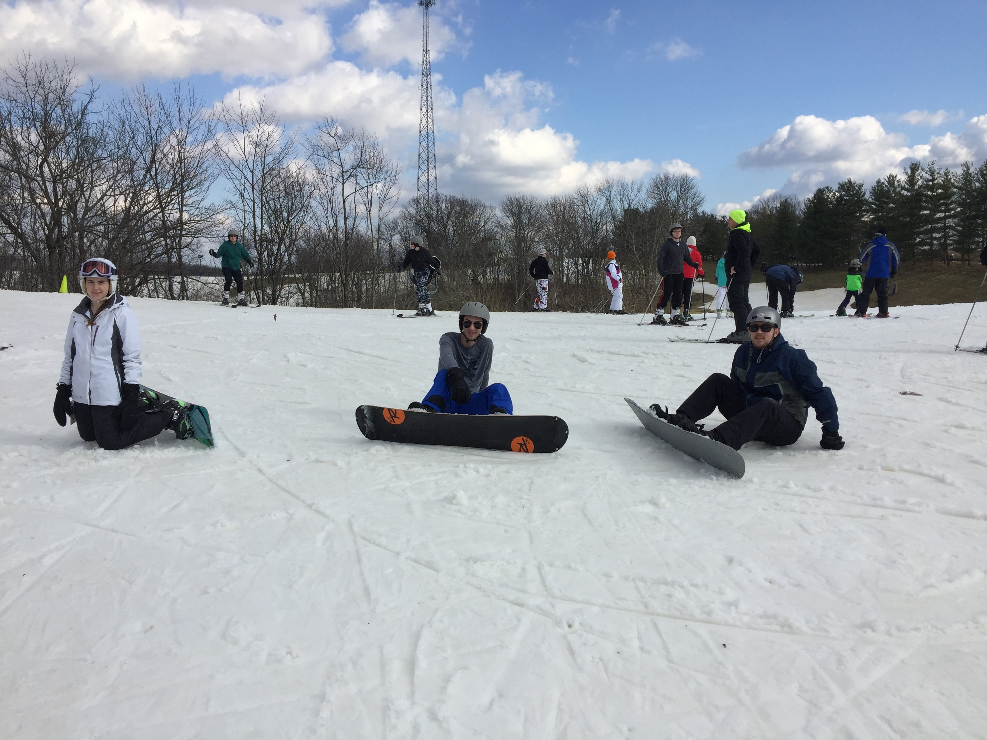 Young adults at the snowboarding activity over the Cincinnati family dance weekend.