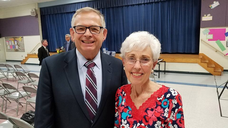 President Victor Kubik and Betty Bost at the Charlotte, North Carolina congregation.