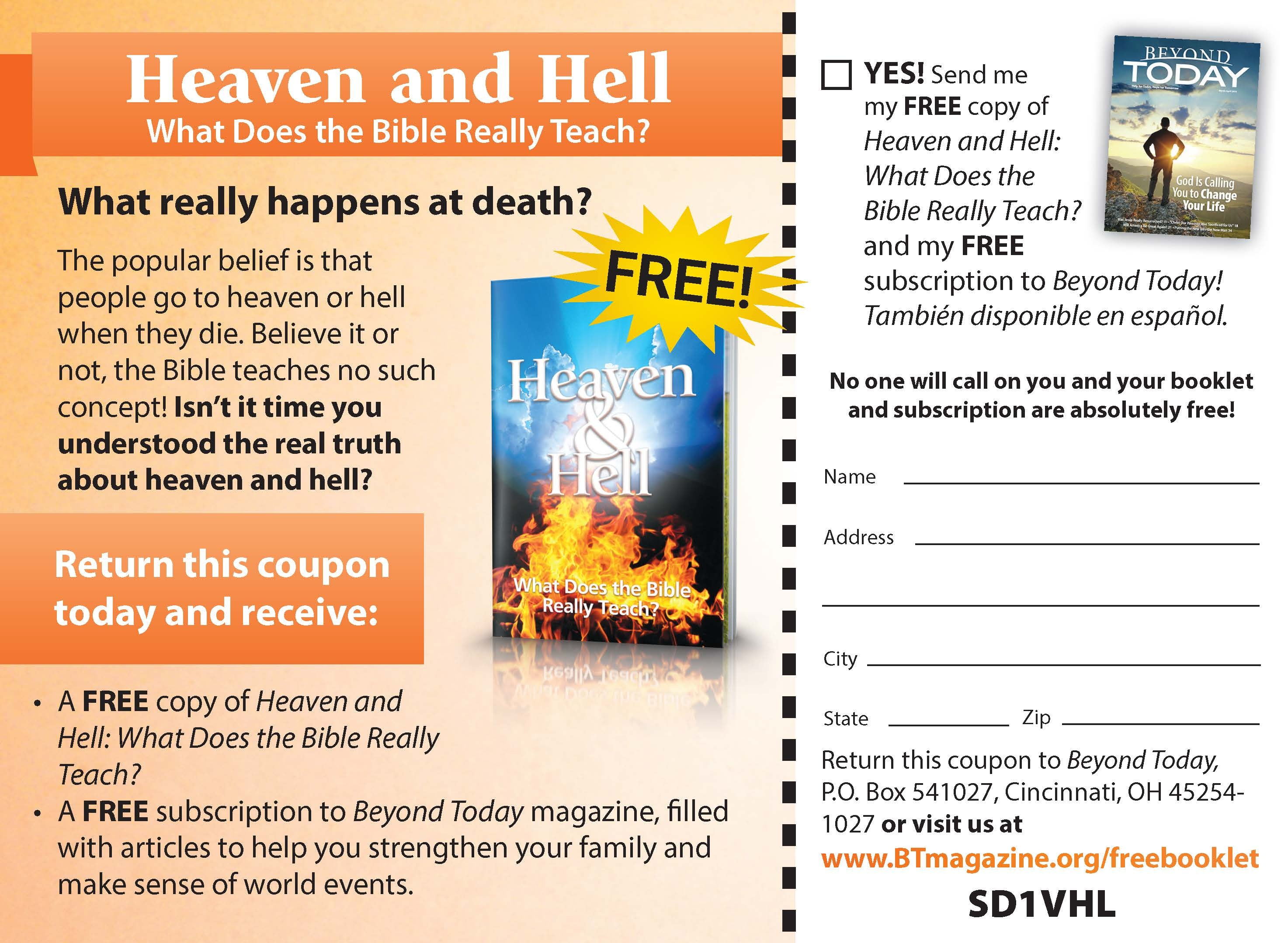 This is a copy of the UCG booklet card ad for Heaven and Hell