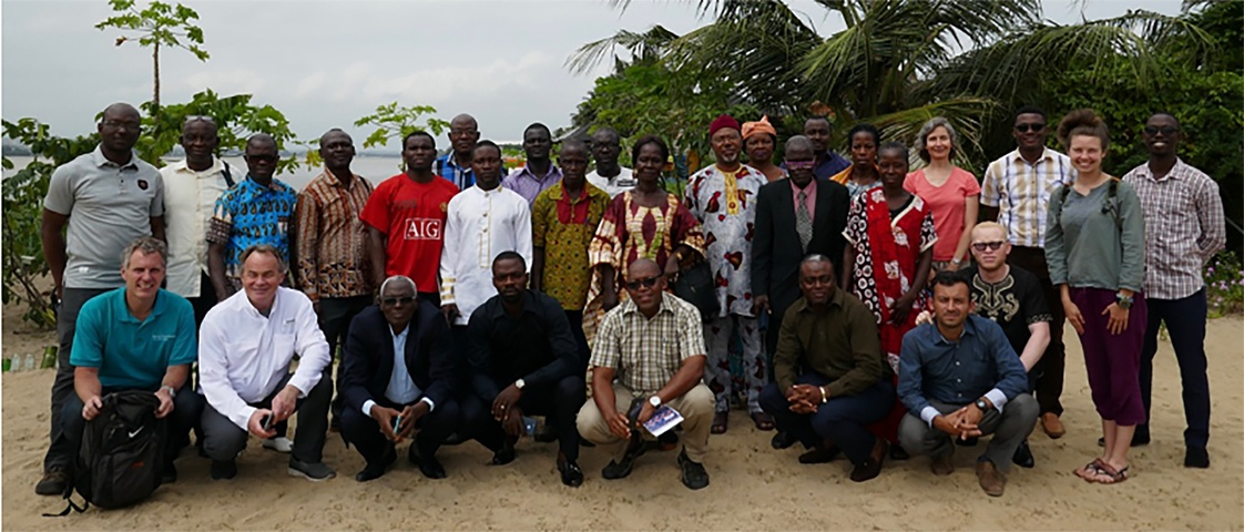 Group shot of the attendees of the leadership training conference in West Africa.