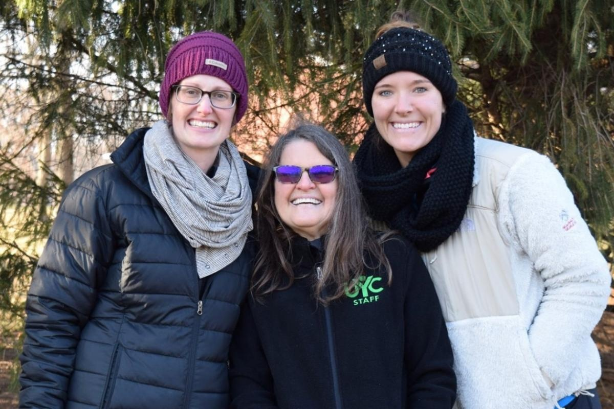 Whitney Creech, Barbara Welch and Courtney Horvath on staff at Winter Camp (photo by Jennifer Phelps).