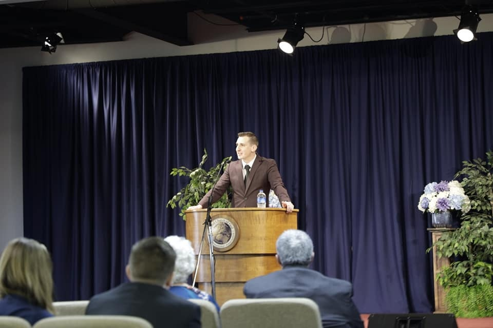 Pastor Joshua Creech speaks at services in Indianapolis.