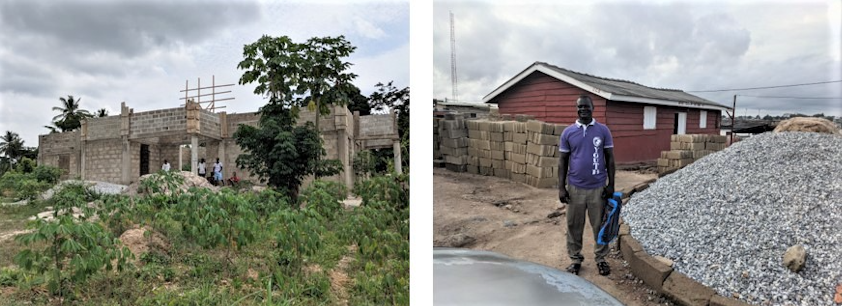 Kwanyako and Winneba church buildings and community centers.