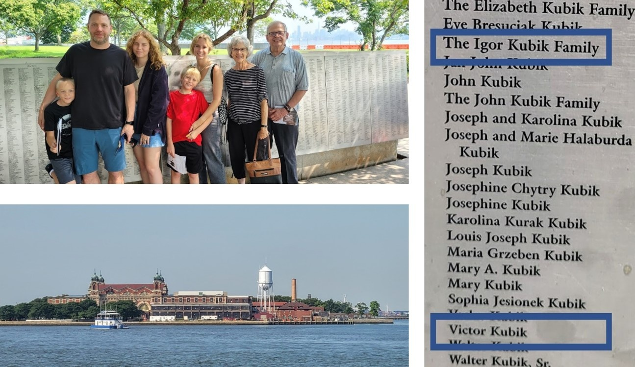 Kubik family at the Wall of Honor (upper left), Ellis Island (lower left), Wall of Honor names (right).