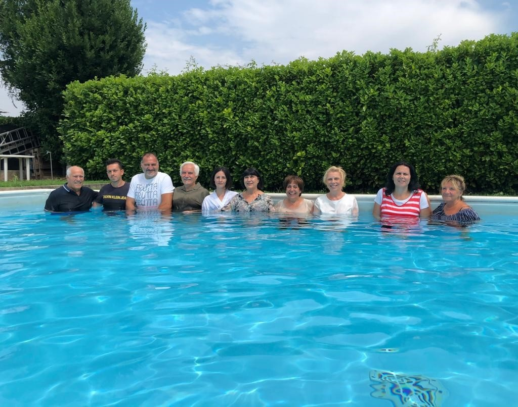 On Sunday, July 25, eight new people were baptized in Sirmione, Italy. Two more were baptized by Angelo Di Vita.