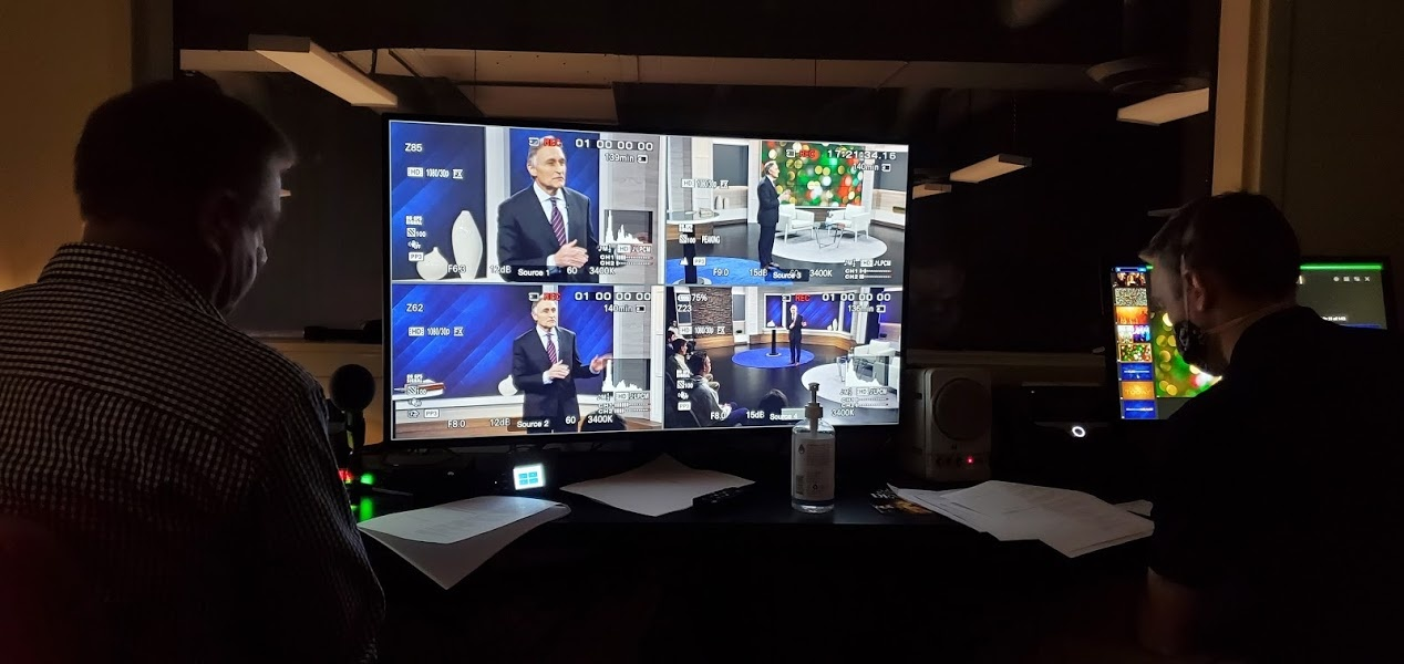 In the control room, recording Beyond Today on March 3, 2021.