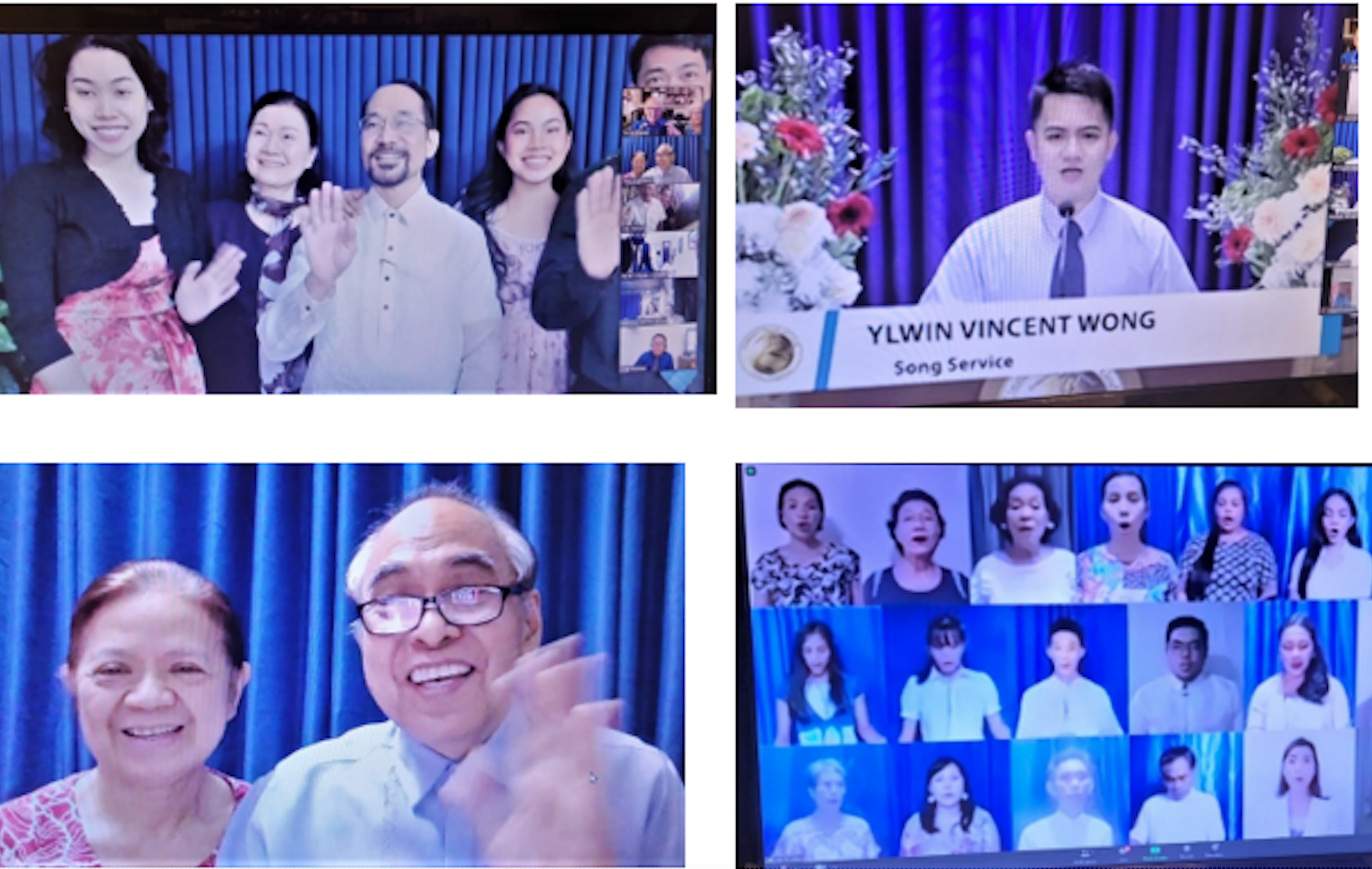Clockwise from upper left: Bong and Grace Remo and family, song services, virtual choir, Rey and Cynthia Evasco.