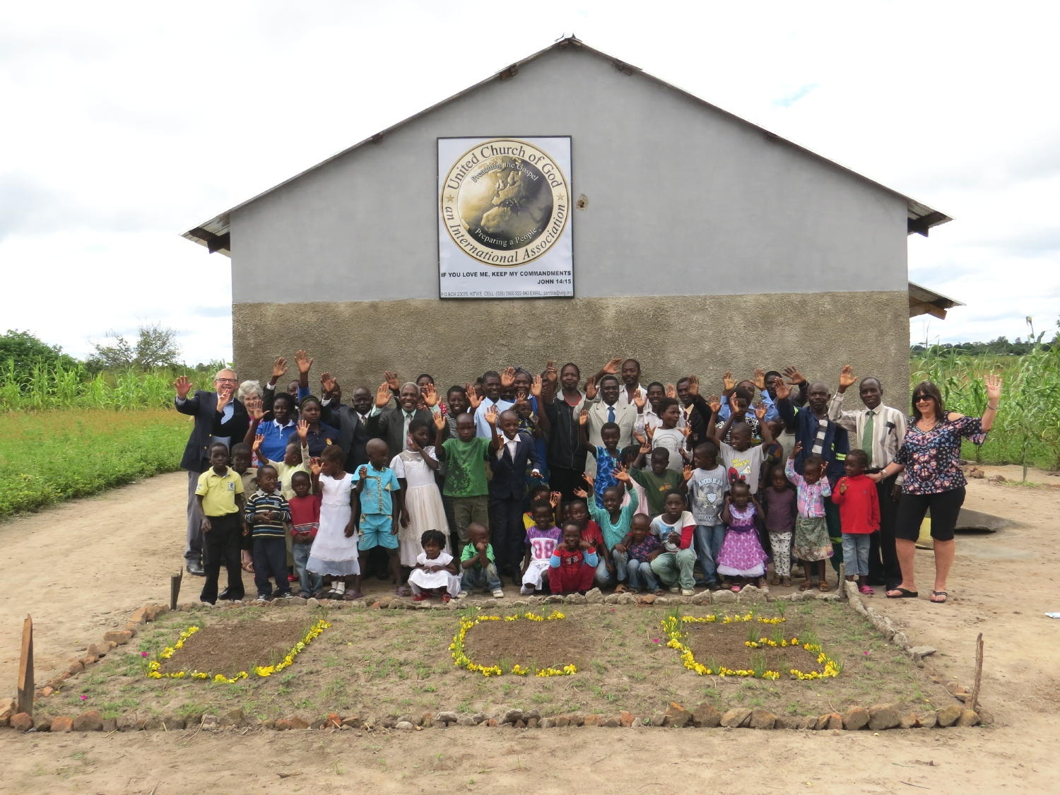 Mufumbwe, Zambia congregation in front of new building.