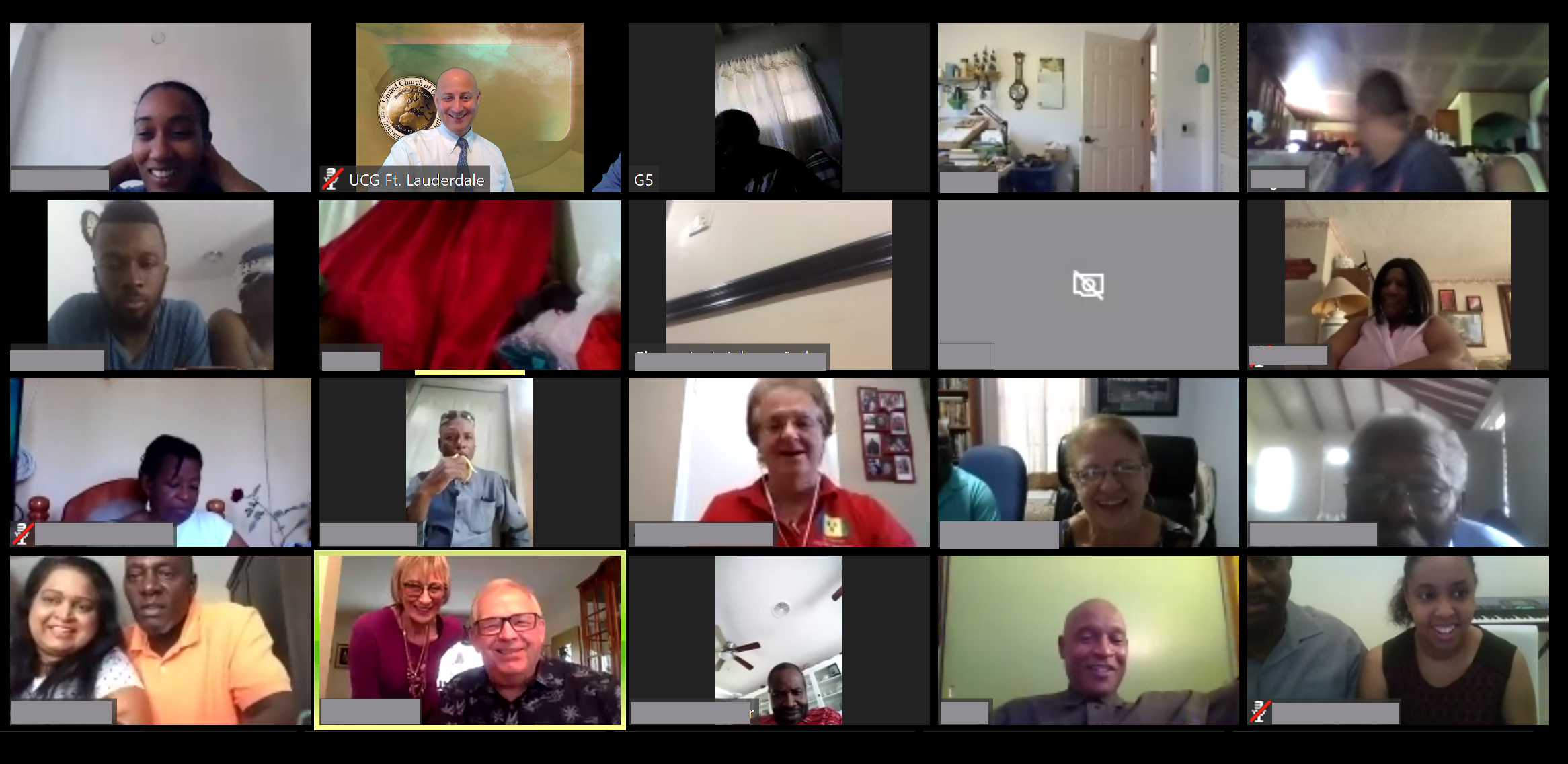 A picture of many brethren who connected to last week's Sabbath service via the web.