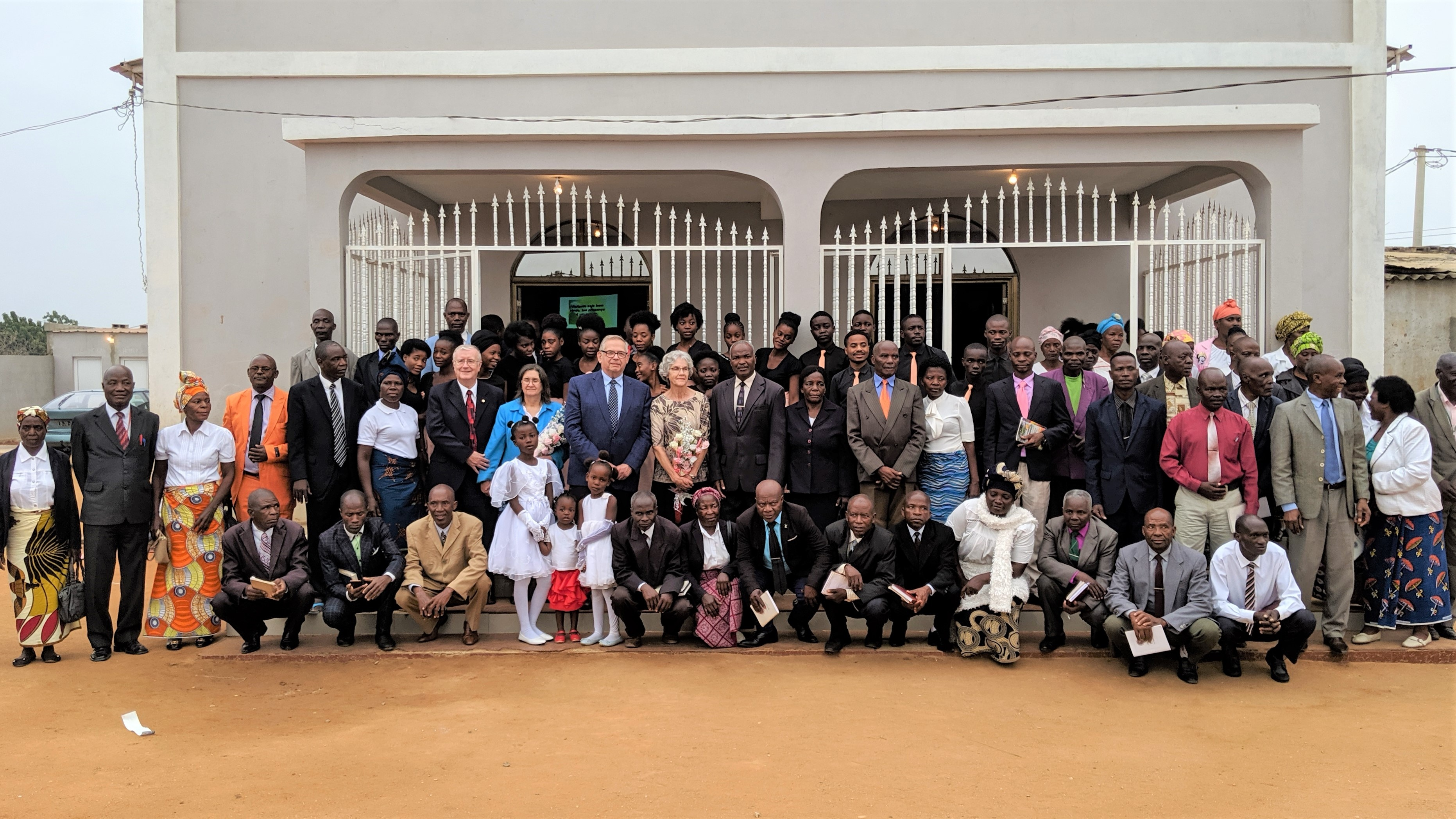 The Vidral congregation in Luanda in front of their church building.