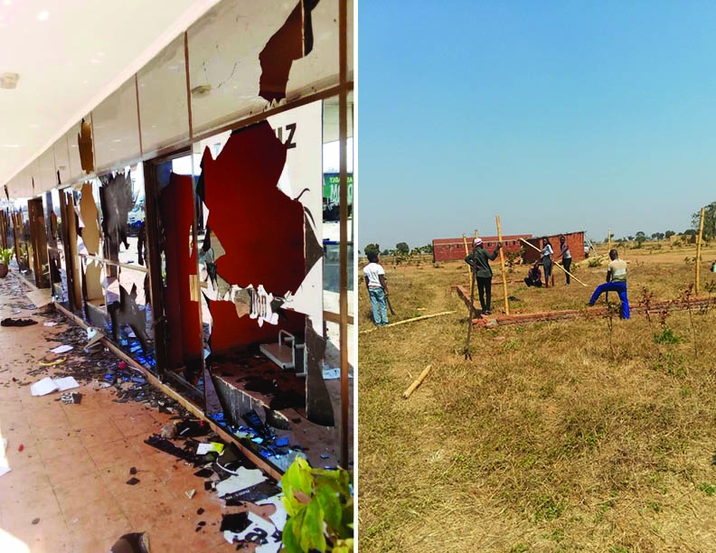"In Malawi: The aftermath of ""peaceful demonstrations"" (left), while a few miles away, young adults are hard at work constructing a temporary kitchen area for camp next week (right)."