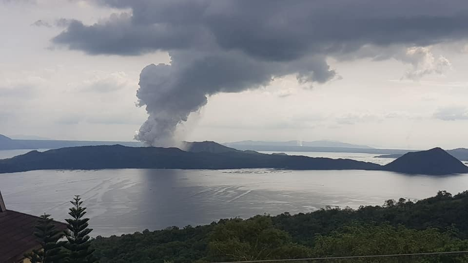 Photo of Taal Volcano erupting.