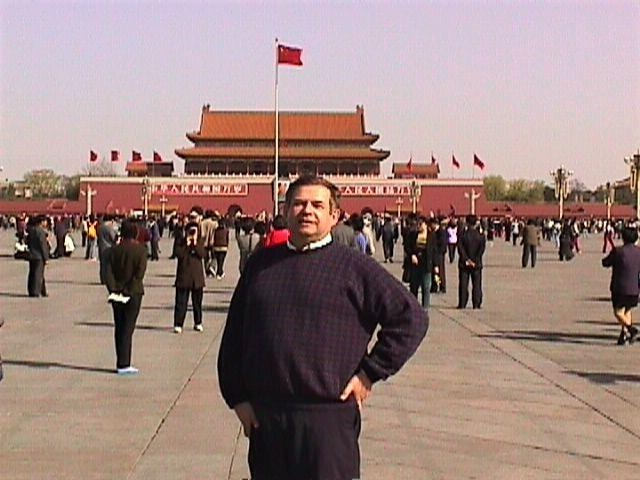 Victor Kubik at Tiananmen Square in Beijing, China in March 2000.