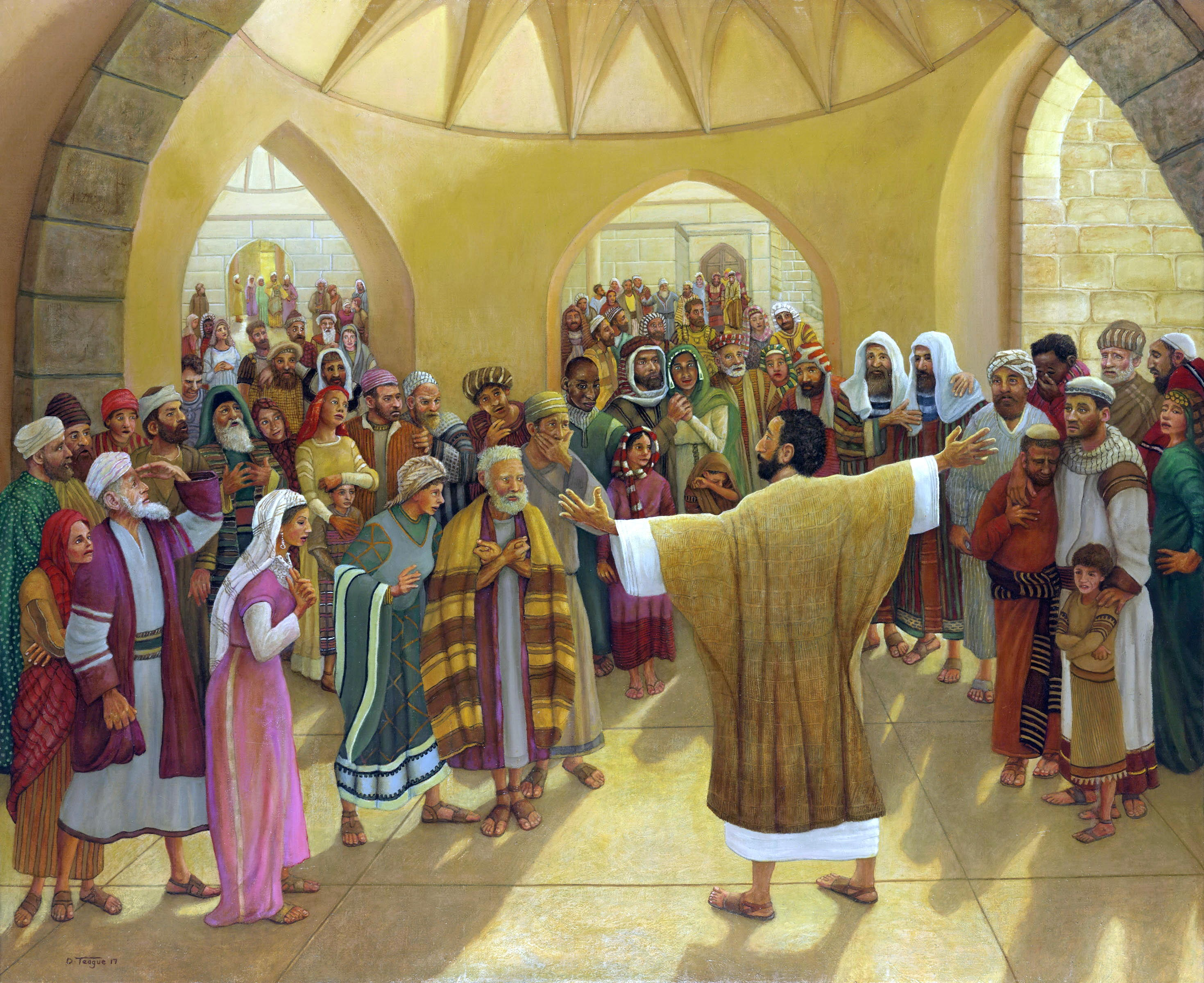 Depiction of Peter's sermon on Pentecost by David Teague. Original painting at the home office.