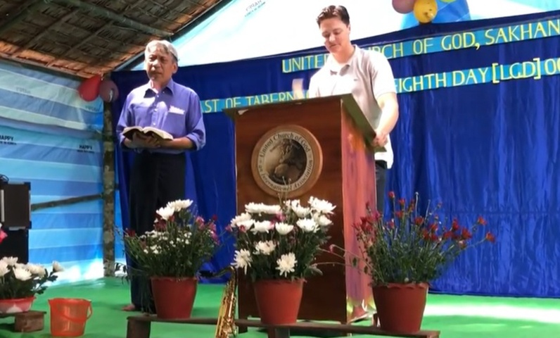 Aaron Jennings gives a message while keeping the Feast in Myanmar.