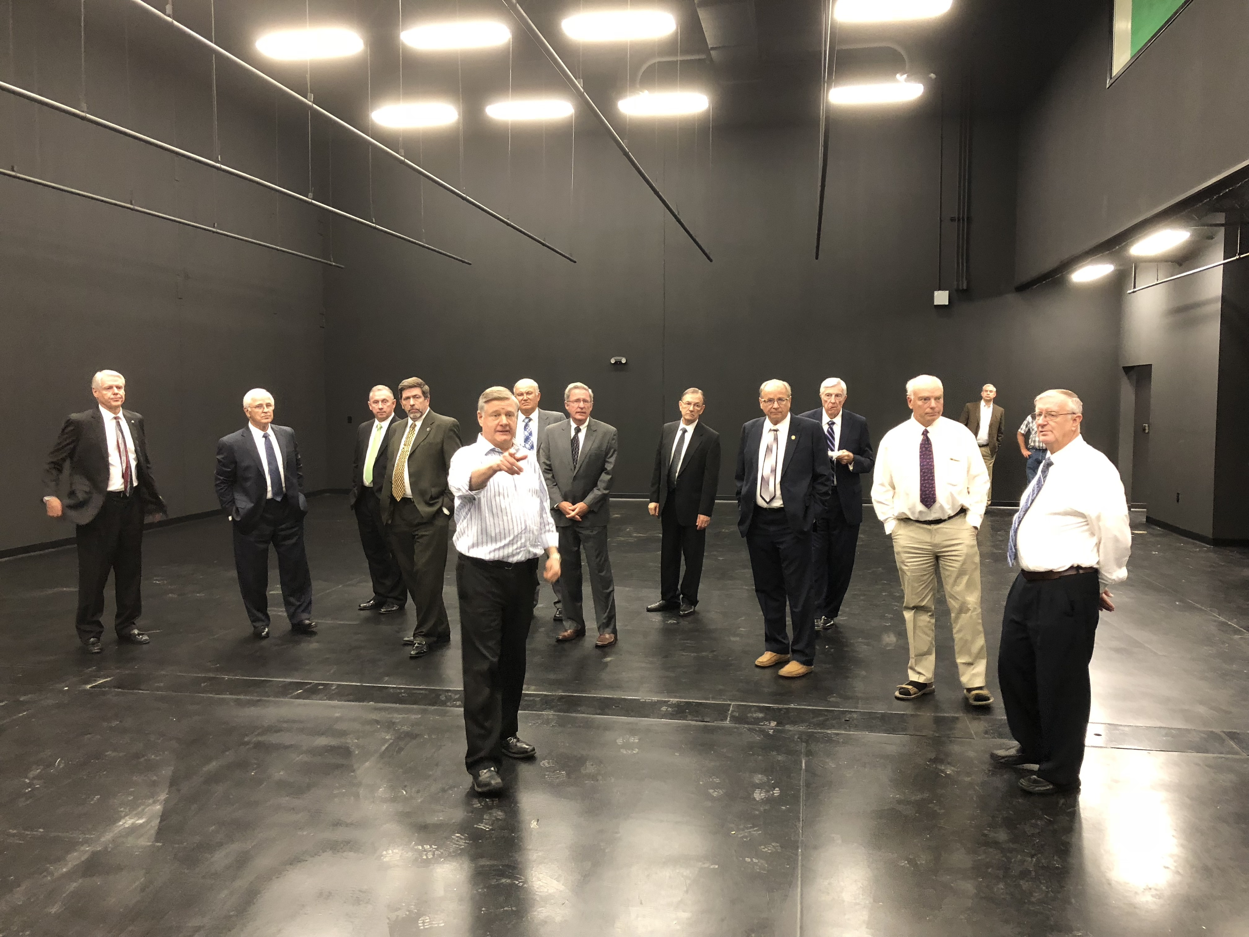 Peter Eddington gives Council of Elders members a tour of the new recording studio space.