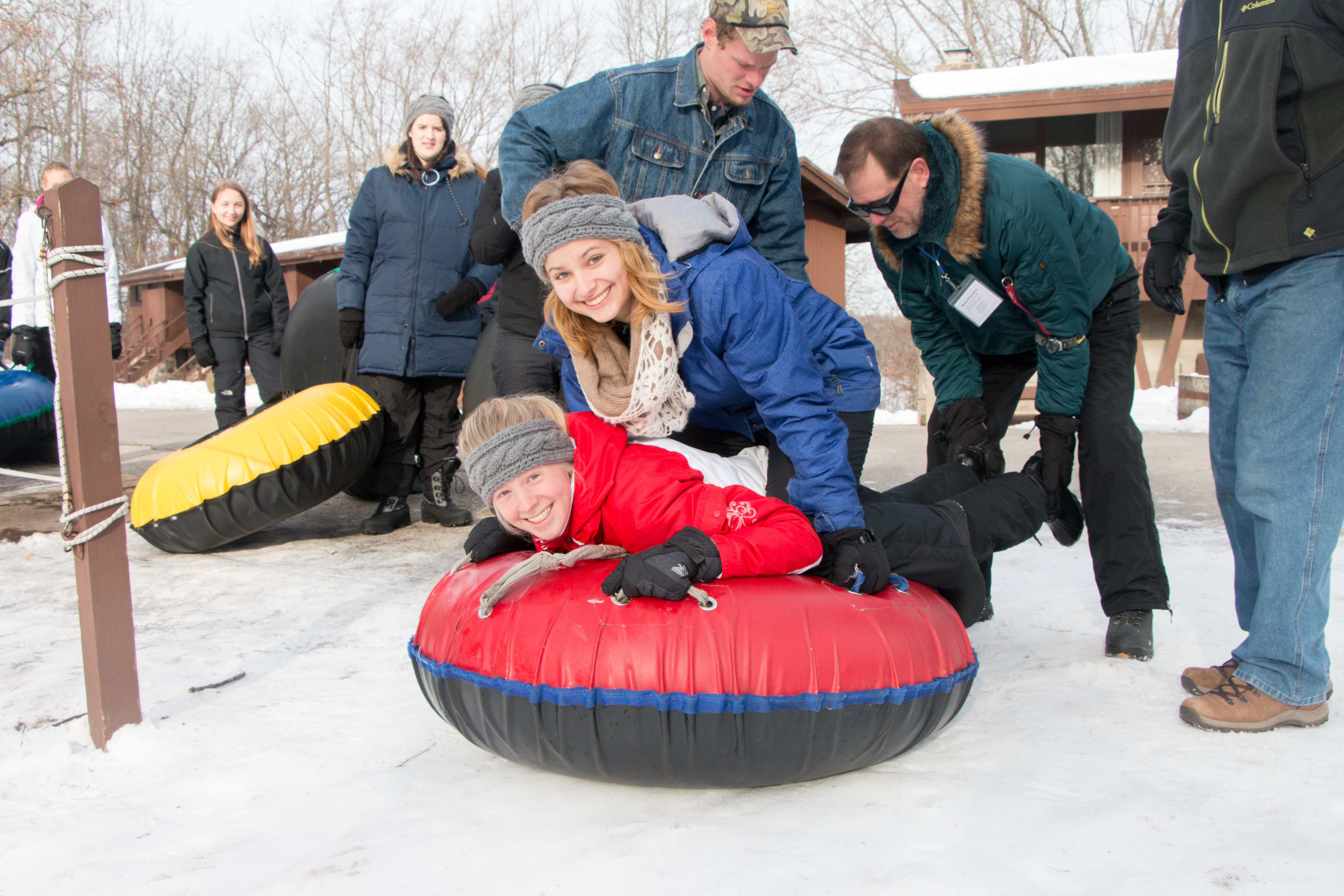 Campers and staff enjoying Winter Camp activities.