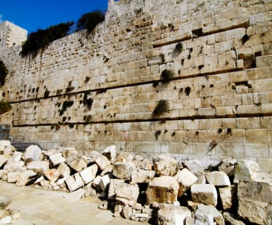 Rubble around the temple wall in Jerusalem.