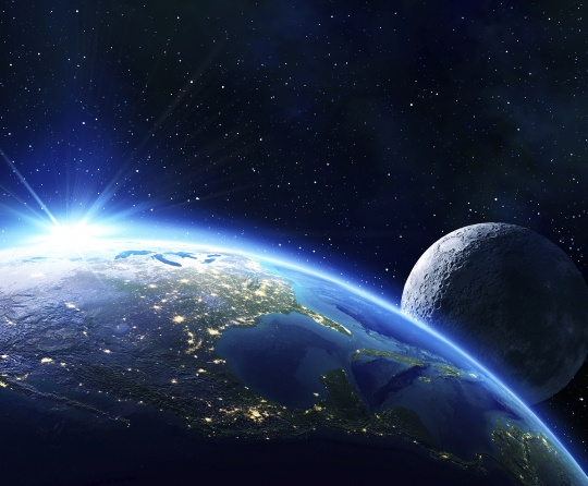 The Earth and moon from outerspace.